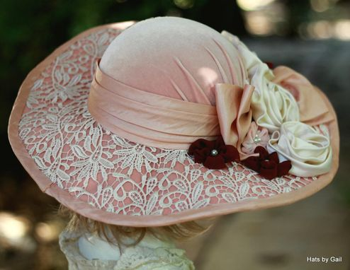 Custom Made Vintage 1900s Edwardian Victorian Hat Wide Brim Velvet Lace Flowers