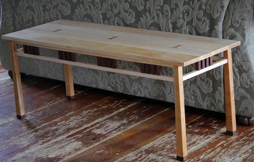 Custom Made Cherry, Walnut And Maple Coffee Table