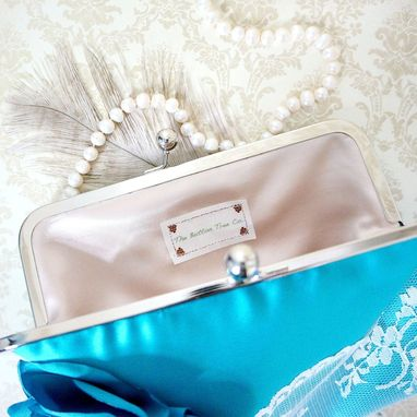 Custom Made Teal Clutch Purse Wtih Carnation And Lace
