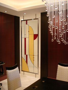 Custom Made Stained Glass Divider Screen With Polished Stainless Steel Support Frame, Contemporary.