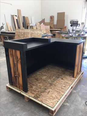 Custom Made #3 Reclaimed Torched Pine Wood  L Shaped Reception Desk Or Sales Counter