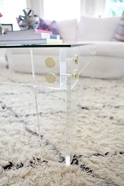 Custom Made Lucite / Acrylic Coffee Table Frame With Gold Or Chrome Button Accents- Hand Crafted, Custom Sized
