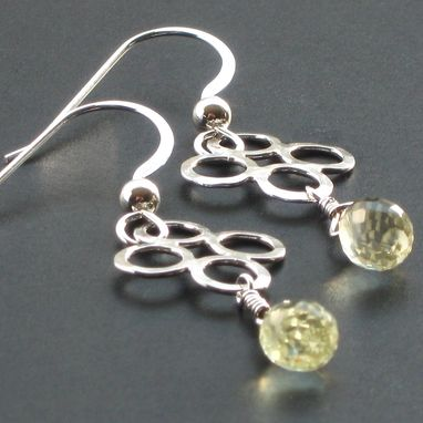 Custom Made Sterling Clover Drop Earrings With Lemon Citrine
