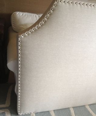 Custom Made Curved Corner Upholstered Headboard, Wheat Linen, Lrg Silver Nailhead, (Monogram Option)