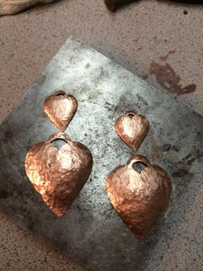 Custom Made Copper Heart Earrings