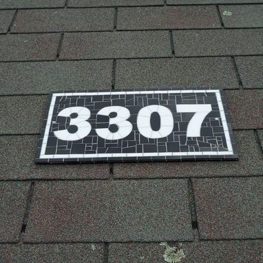 "Custom Made Mosaic Outdoor Address Plaque -Black And White House Number -  8.5"" H X 16"" W."