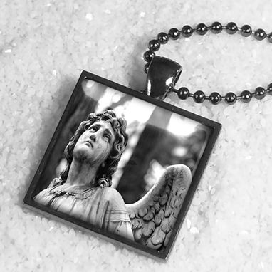 Custom Made Angelic Statue Spiritual Divinity Gunmetal Black Necklace 369-Gmsn