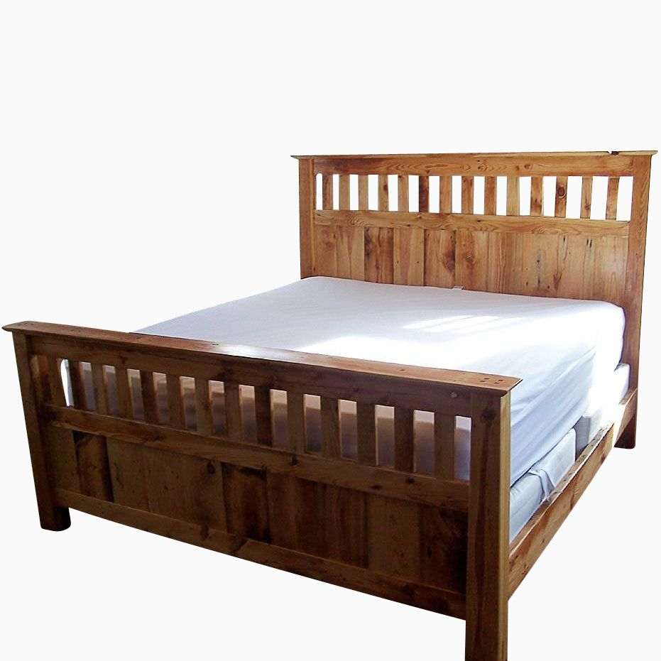 Buy a handmade vintage reclaimed wood mission style bed for Mission style bed frame plans