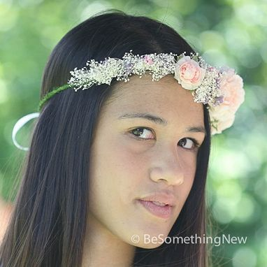 Custom Made Flower Crown Of Pink Roses And Babies Breath, Wedding Flower Wreath