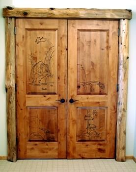Custom Made Custom Hand Crafted Grizzly Bear Double Door