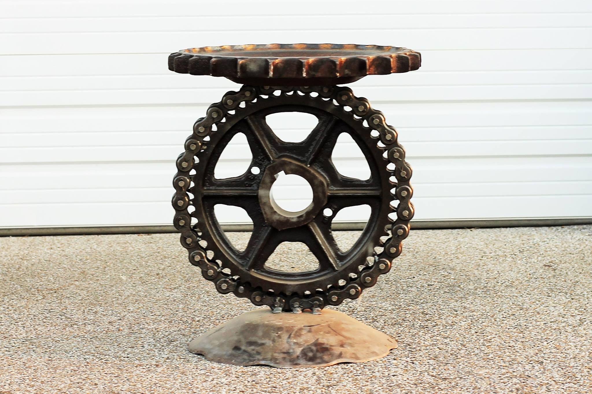buy a handmade sculptural metal pedistal industrial steampunk