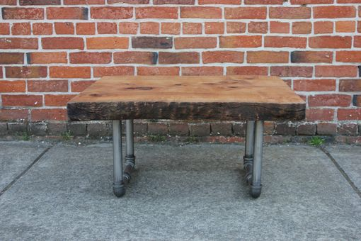 Custom Made Sycamore And Steel Coffee Table