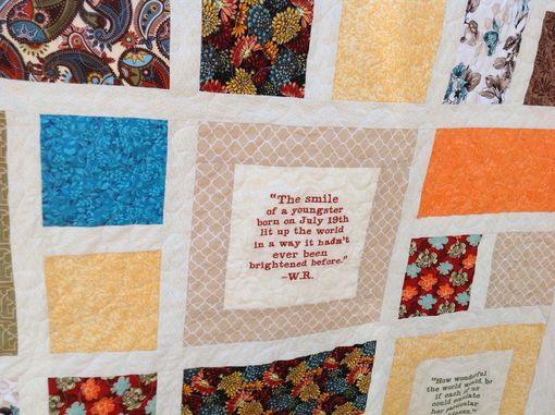 Custom Made Gorgeous Custom Window Pane Embroidered Memory Quilt