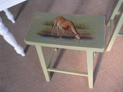 Custom Made African Theme: 24 Inch Saddle Seat Stool