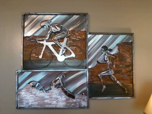 Custom Made Triathlete Relief Metal Sculptures