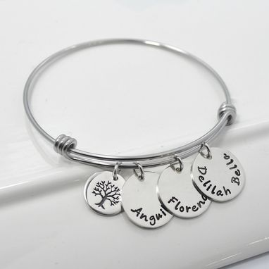 Custom Made Personalized Adjustable Mommy Bangle Bracelet | Tree Of Life Bracelet