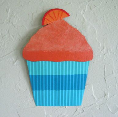 Custom Made Handmade Upcycled Metal Orange Swirl Cupcake Wall Art Sculpture