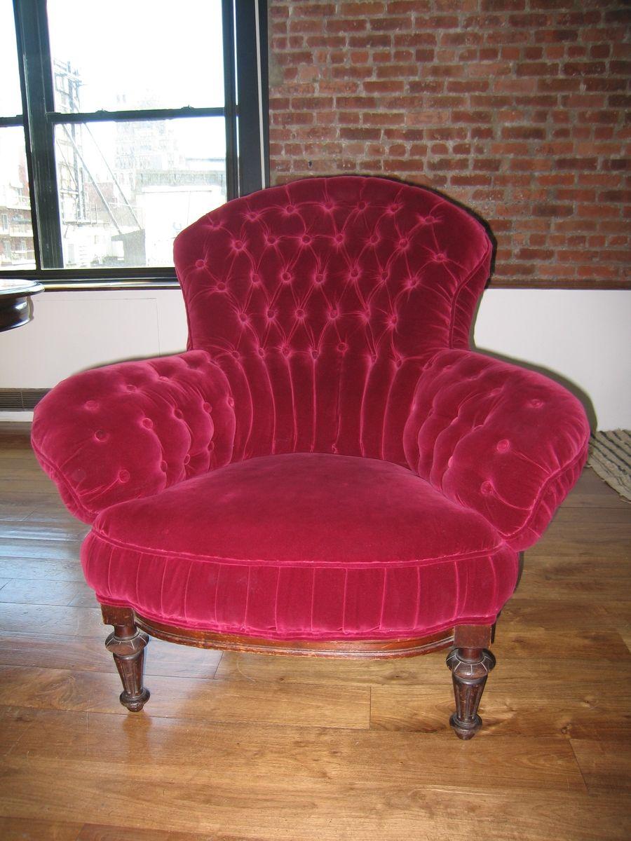 Handmade Tufted Back Upholstered Velvet Chair By Vasiliki