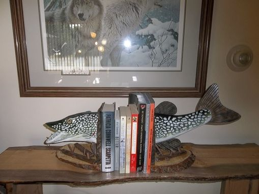 Custom Made Rustic Northern Pike Bookends