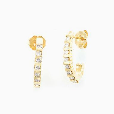 Custom Made 14k Yellow Gold Diamond Semi Hoop Earrings