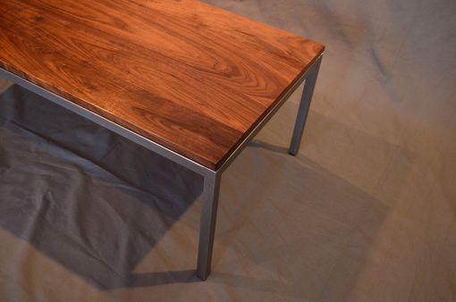 Custom Made Walnut Wood And Raw Steel End Table