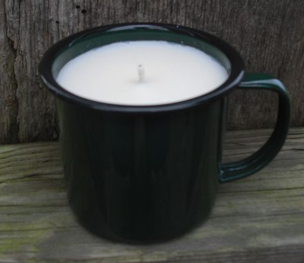 Custom Made Pearberry Soy Candle In Green Tin Mug, Country In A Cute Package, Wood, Hemp Or Cotton Wick