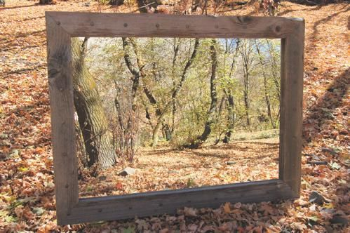 Hand Crafted Bunkhouse Barnwood Mirror With Nailhead Tacks