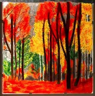 "Custom Made ""Fiery Autumn Fused Glass"""