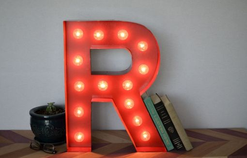 Custom Made Vintage Inspired Marquee Light- Letter R- Color Fire Engine