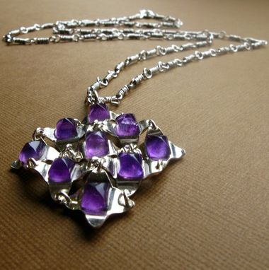 Custom Made Same Day Shipping Small Falling Water Pendant In Amethyst And Sterling Silver