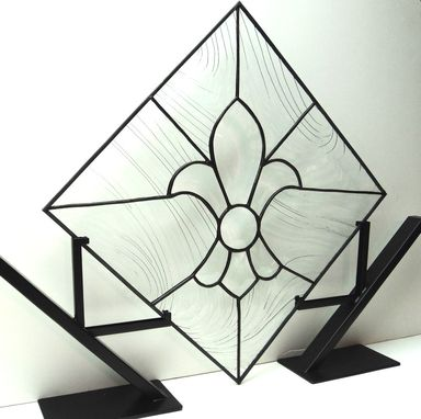 Custom Made Stained Glass Fleur-De-Lis Panel (P-15)