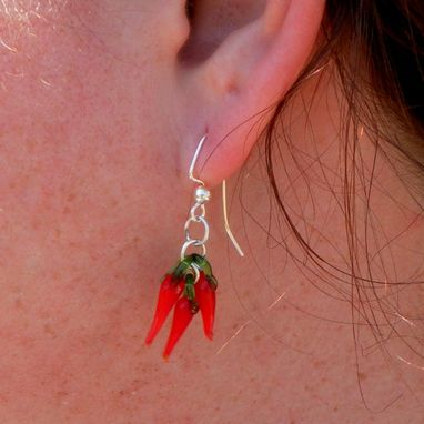 Custom Made Sterling Silver Earrings With Red Glass Chili Pepper Dangles