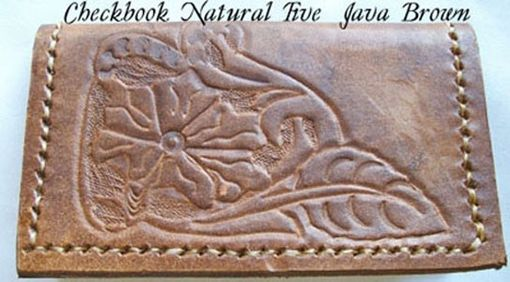 Custom Made Custom Leather Checkbook Cover With Natural 5 Design In Java Brown