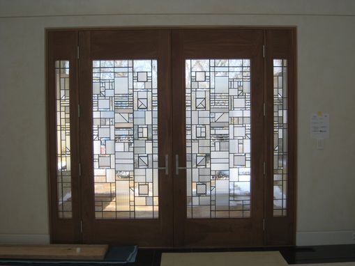 Custom Made Contemporary Clear Textured Leaded Glass