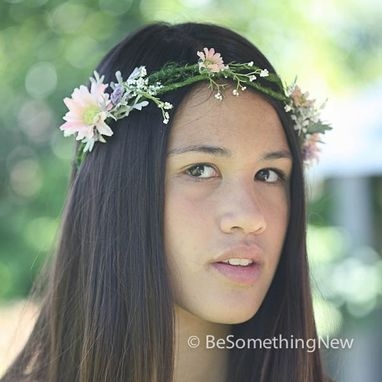 Custom Made Wedding Flower Crown, Floral Wreath In Pink And Lilac, Flower Wedding Head Piece