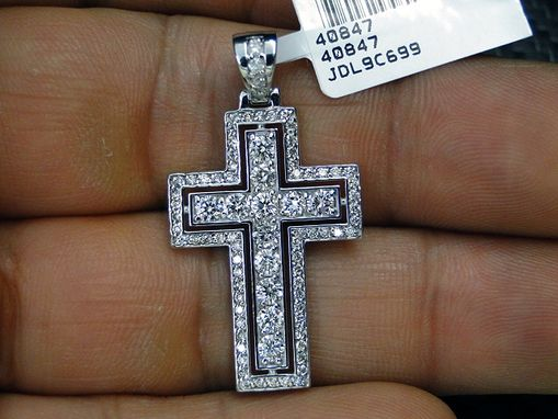 Custom Made 14k White Gold Diamond Cross
