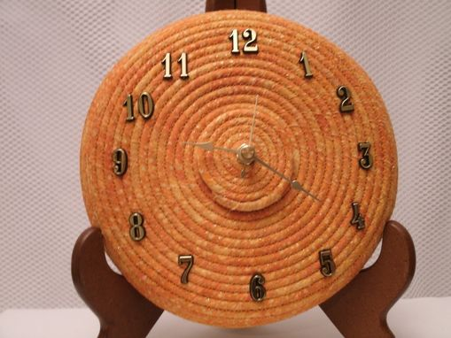 Custom Made Wall Clock. Fabric Wrapped Clothesline. Shades Of Orange With Gold Flecks