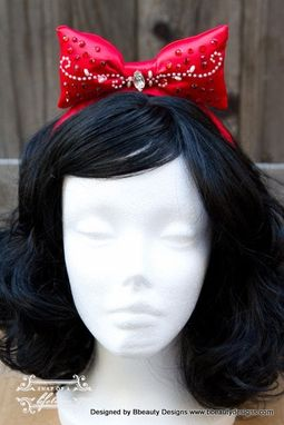 Handmade Snow White Jeweled Princess Bow Headband And