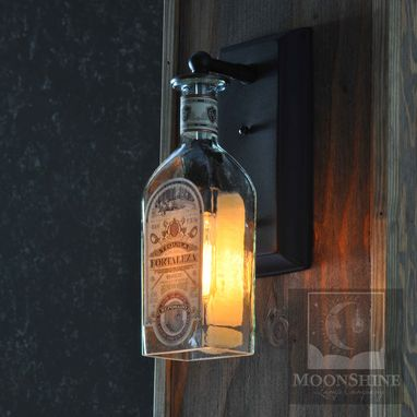 Custom Made Fortaleza Tequila Glass Bottle Wall Sconce