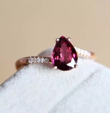 Custom Made 1.05 Carat Rhodolite Garnet Ring In 14k Rose Gold