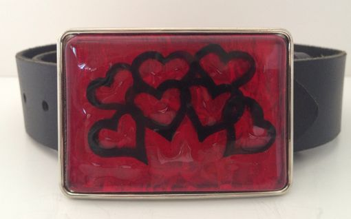 Custom Made Big Hearts On Red Fused Glass Belt Buckle