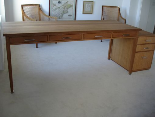 Custom Made Tapered Leg Desk, And File Cabinet, For Vica