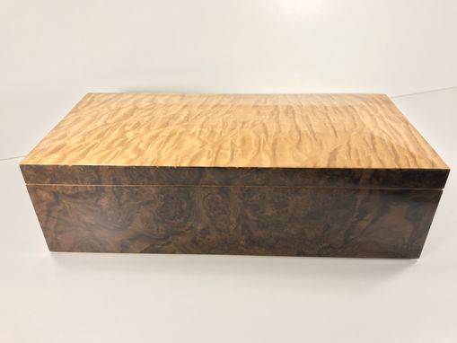 Custom Made Desk Top Humidor- Quilted Maple And Walnut Burl