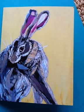 Custom Made Coy Hare On Yellow Notecard Set