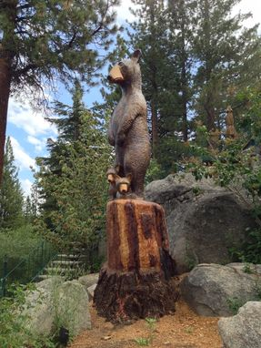 Custom Made On Site Woodcarving Moma Bear And Cubs