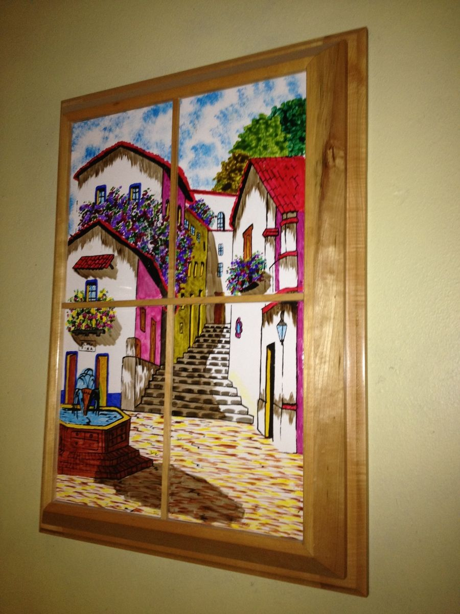 Hand Made Custom Framed Hand Painted Mexican Scene Tiles