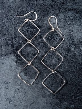 Custom Made Silver Square Earrings