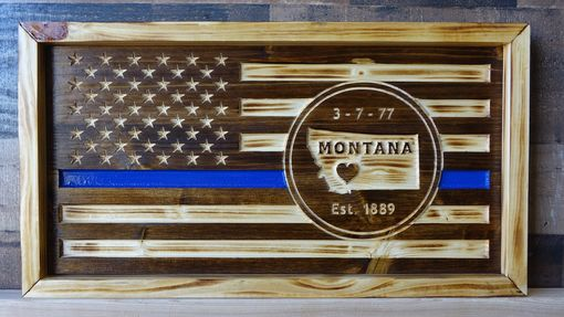 Custom Made Wooden American Flag With State