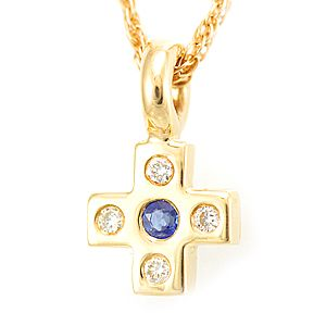 Custom Made Blue Sapphire And Diamond Mini Cross Pendant In 14k Yellow Gold