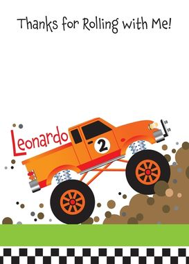 Custom Made Monster Truck Invitation For Kids